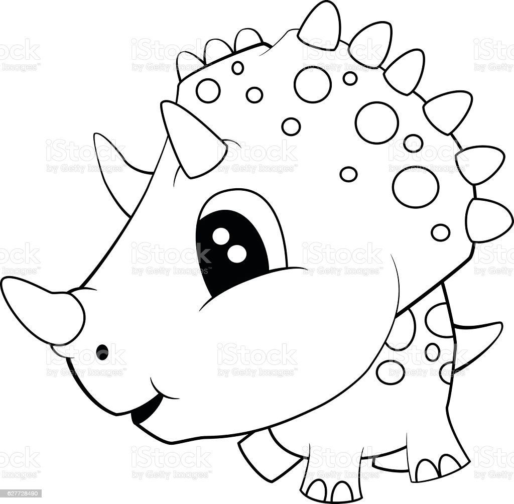 Cute Black And White Cartoon Of Baby Triceratops Dinosaur ...