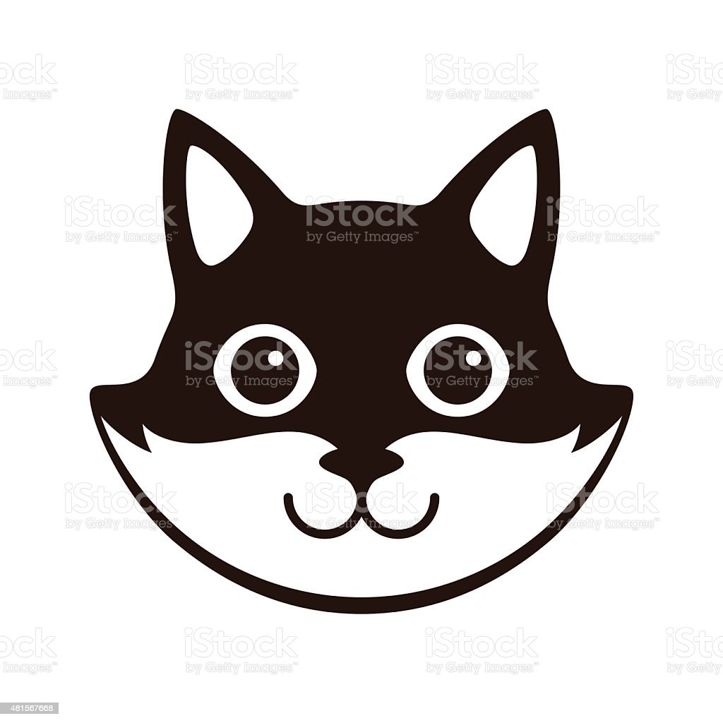 Cute black and white cat cartoon flat icon design stock - Chat dessin noir et blanc ...