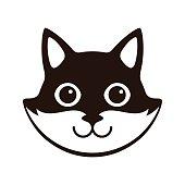 Cute Black and white cat,  cartoon flat icon design
