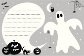 Cute black and white Halloween ghost invite with holiday pumpkins and other halloween icons. A speech bubble for copy to be applied - ideal for your Halloween invites.