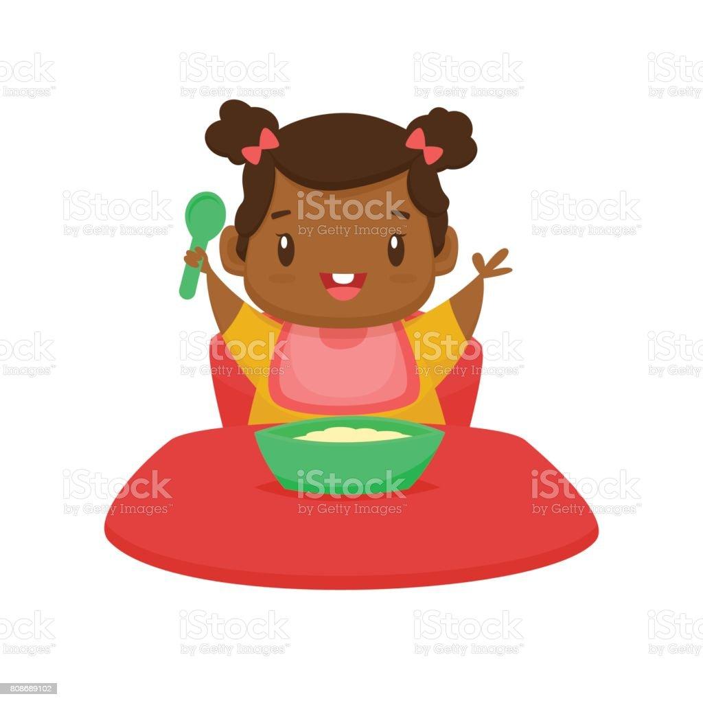 Cute black baby girl eating cartoon vector illustration