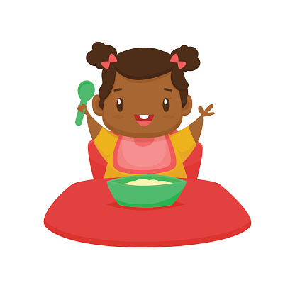 Cute Black Baby Girl Eating Cartoon Vector Illustration ...