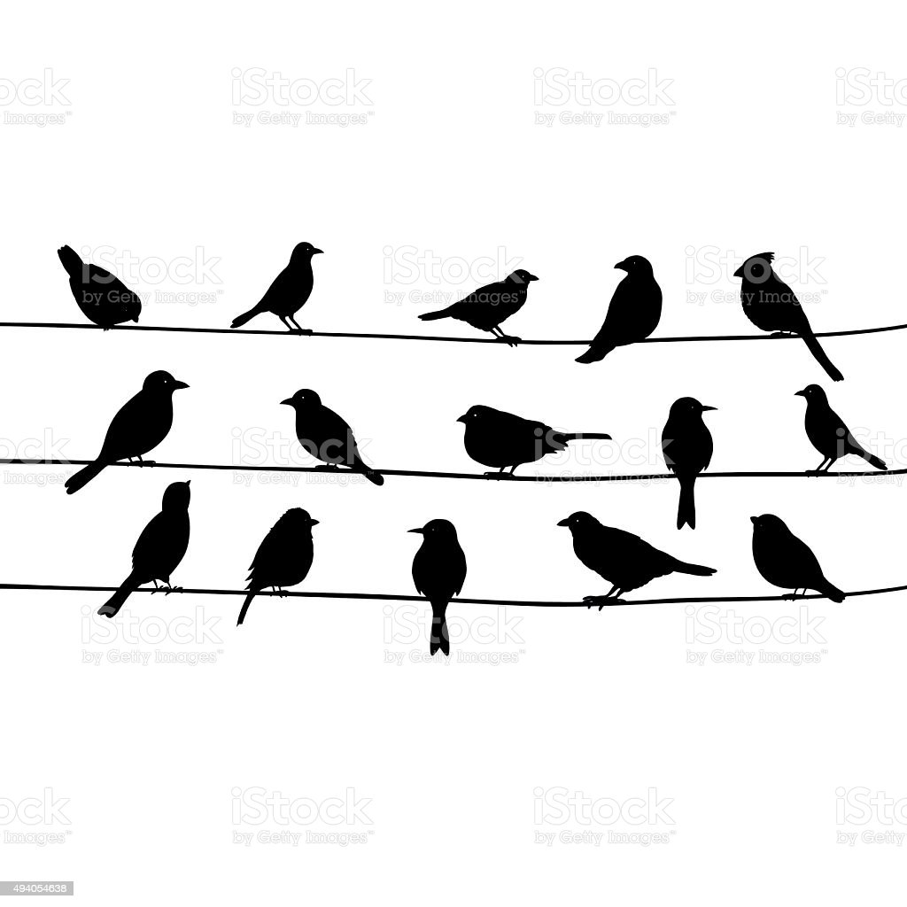 cute black birds on a wire stock vector art more images. Black Bedroom Furniture Sets. Home Design Ideas