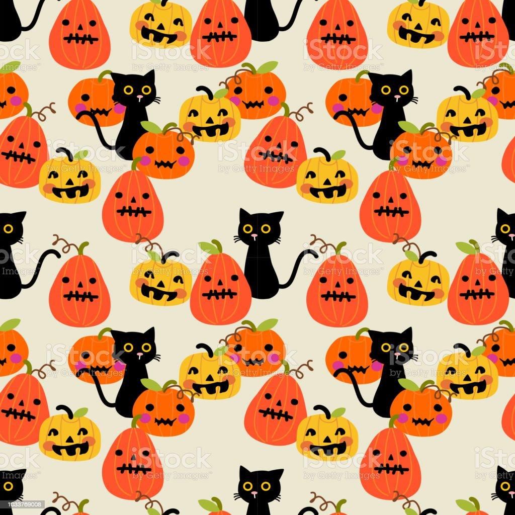 Pompoen En Halloween.Schattig Zwarte Kat En Halloween Pompoen Naadloze Patroon