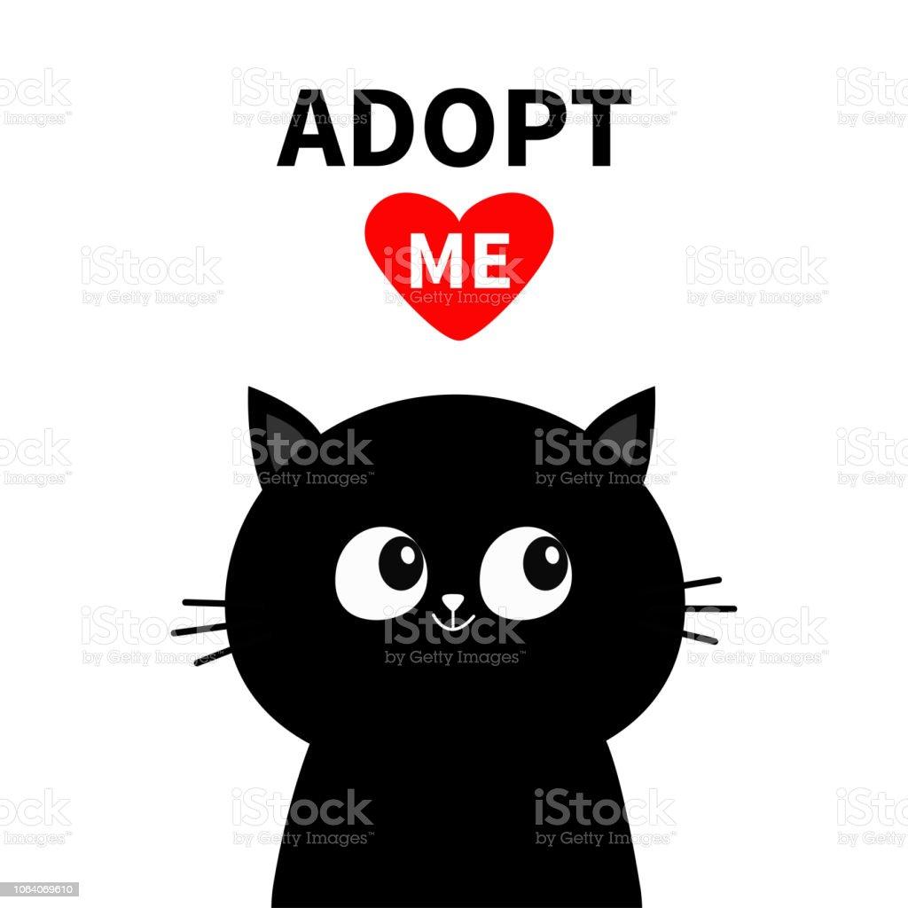 Cute Black Cat Face Silhouette Adopt Me Red Heart Pet Adoption