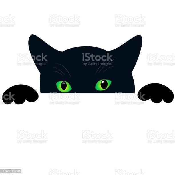 Cute black cat face with green eyes peekings isolated white curious vector id1140611728?b=1&k=6&m=1140611728&s=612x612&h=35kr l38ggqs6kwsjoyb4m4gilppsp9qjp59mf89tuo=