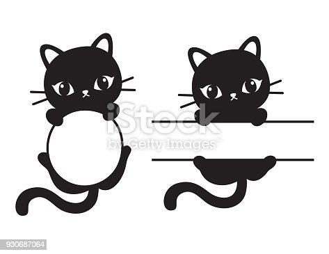 Cute Black Cat Frame Vector Illustration Stock Vector Art & More ...