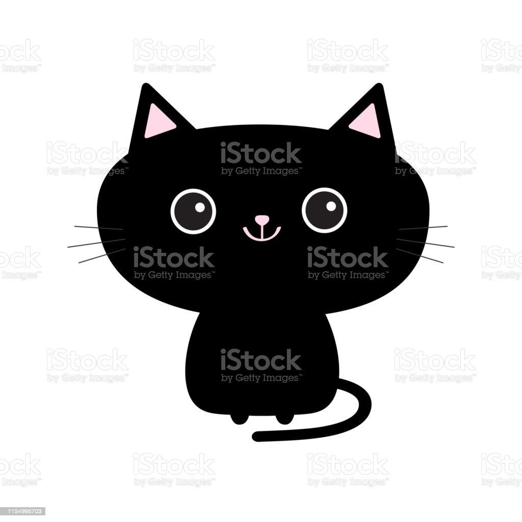 Ilustración De Lindo Icono De Gato Negro Divertido Personaje