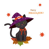 Cute,animal,black,cat,pet,holiday,Halloween,costume,hat,witch,leaf,maple,leaves,illustration,design,background