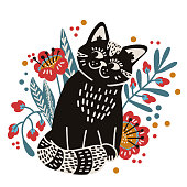 Cute black cat in flowers. Hand-drawn vector illustration in flat style. Print for T-shirts, children's clothing, posters, backgrounds, wallpapers.