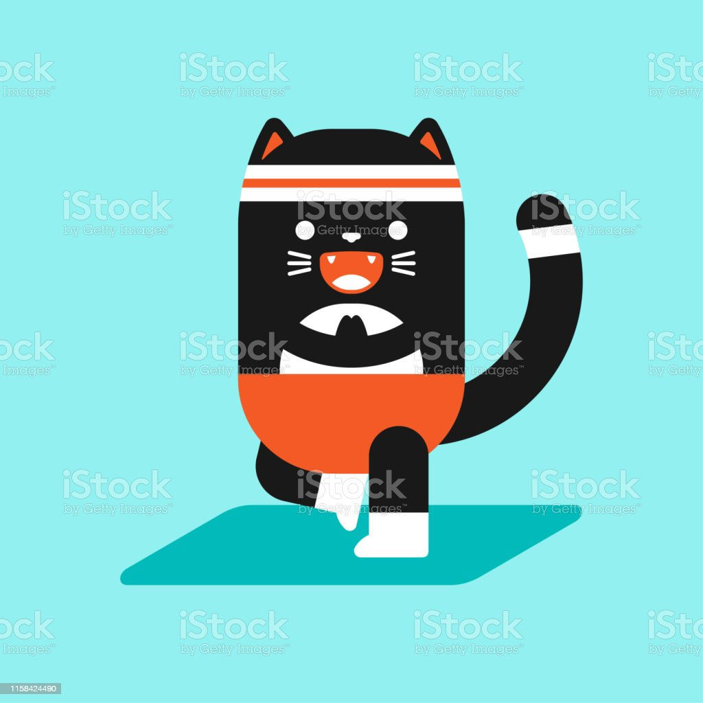 Cute Black Cat In Yoga Pose Funny Vector Cartoon Pet Character Isolated On A Background Fitness And Sport Illustration Stock Illustration Download Image Now Istock