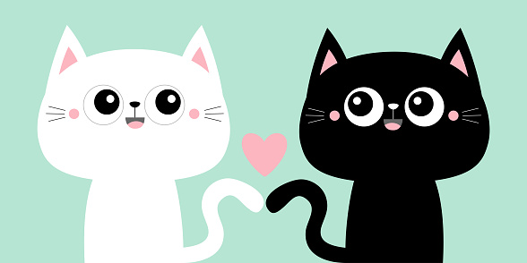 Cute black cat kitty kitten set. Pink heart. Kawaii cartoon character. Smiling face, tail. Happy Valentines Day. Baby greeting card tshirt notebook cover print. Blue background. Flat design