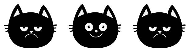 Cute black cat set line. Emotion collection. Happy, smiling and sad, angry kitten head face. Optimist pessimist. Funny cartoon characters. White background Isolated Flat design. vector art illustration