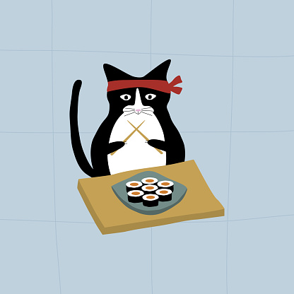 Cute black cat with chopsticks and plate of sushi. Kawaii cat. Traditional japanese illustration.