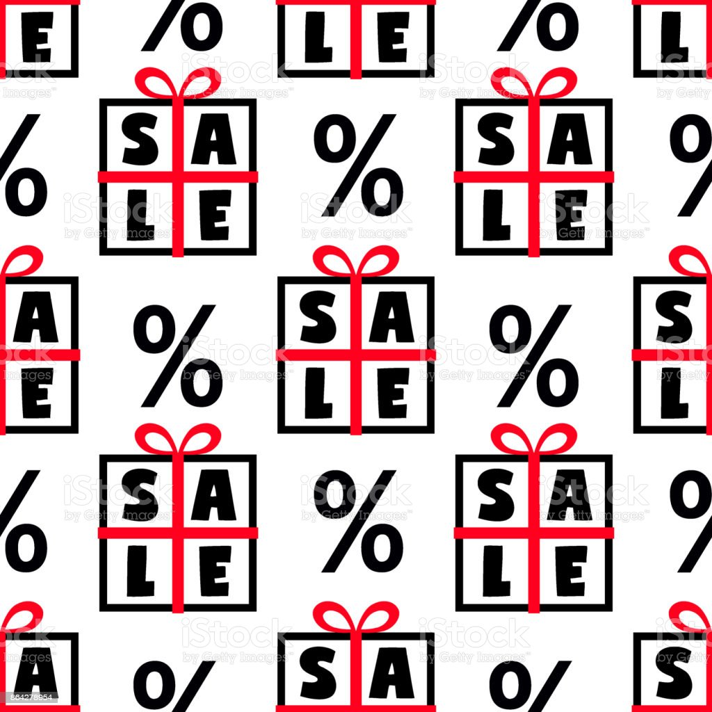 Cute Black Friday sale seamless pattern with gift boxes and discount percent signs in black, red and white colors royalty-free cute black friday sale seamless pattern with gift boxes and discount percent signs in black red and white colors stock vector art & more images of abstract
