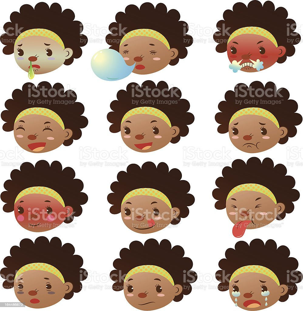 Cute black girl various facial expressions vector art illustration