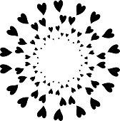 Cute Black heart circle frame