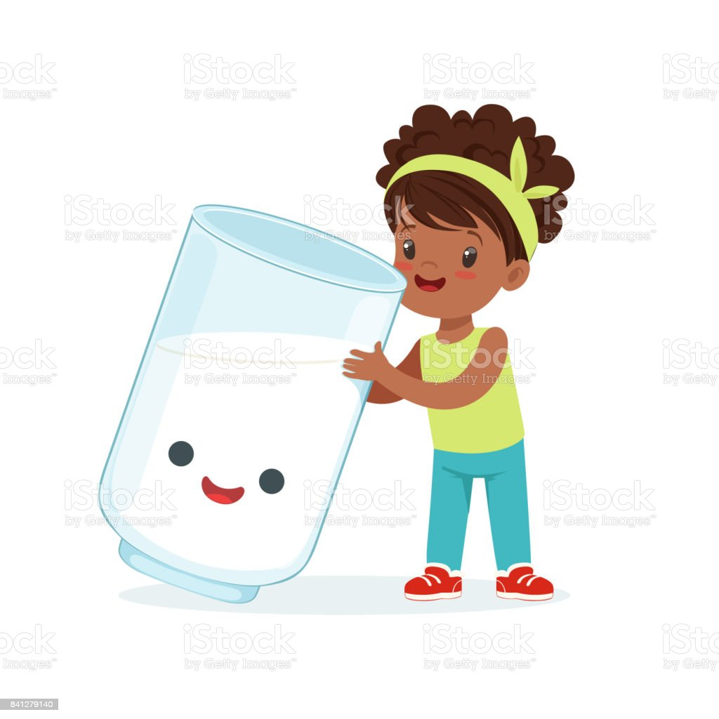 Ilustración de Niña Negra Linda Y Divertida Vidrio Con Sonriente ...