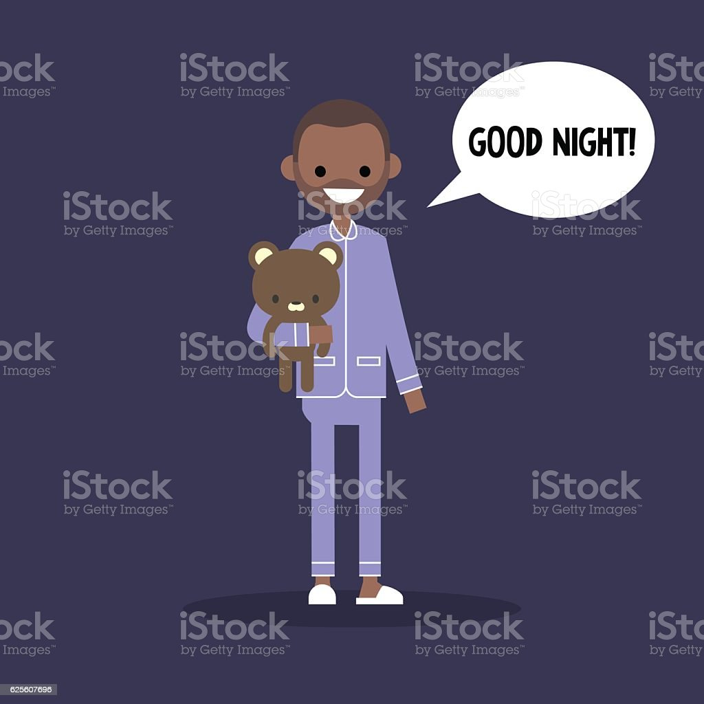 Cute Black Man In Pajamas Saying Good Night Stockvectorkunst en meer ...