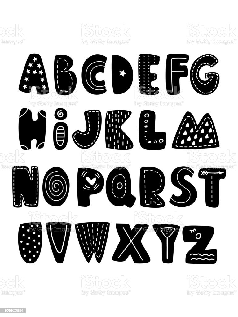 Cute Black Nursery Alphabet In Scandinavian Style Creative Kids Font Great For Education Home On White