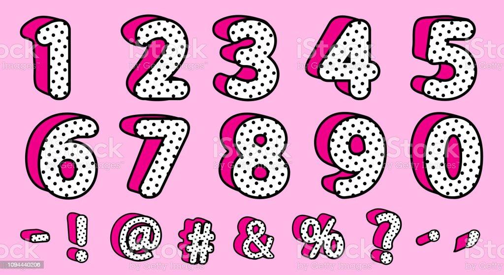 Bolinhas pretas giro 3D conjunto de números e sinais. Estilo de surpresa do vetor LOL boneca feminino. - ilustração de arte em vetor