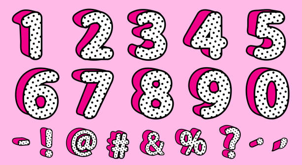 cute black polka dots 3d set of numbers and signs. vector lol girly doll surprise style. - lalka stock illustrations
