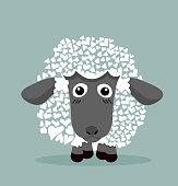 Cute Black Sheep in heart shape