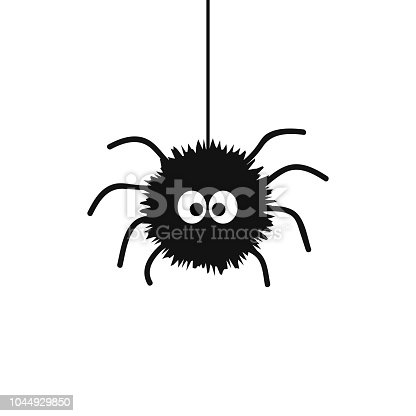 Cute black spider with big eyes hanging on spiderweb
