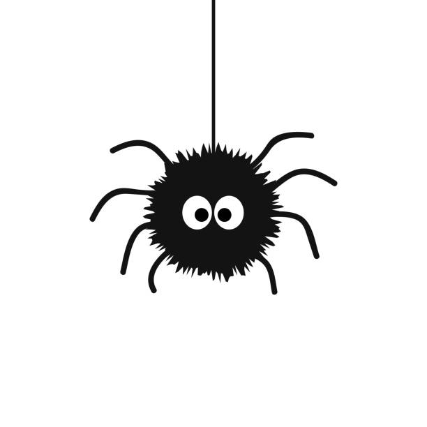 Cute black spider with big eyes hanging on spiderweb Cute black spider with big eyes hanging on spiderweb cute stock illustrations