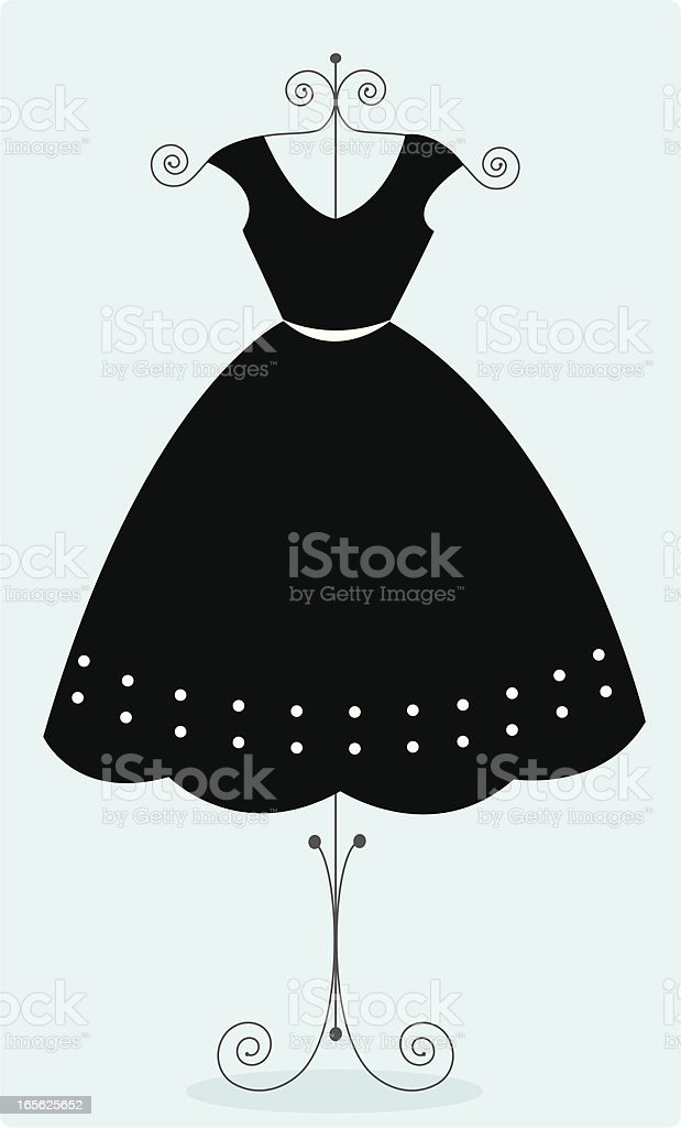 Cute black sundress vector art illustration