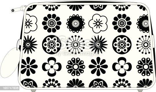 Linda & blanco y negro florales completar la bolsa