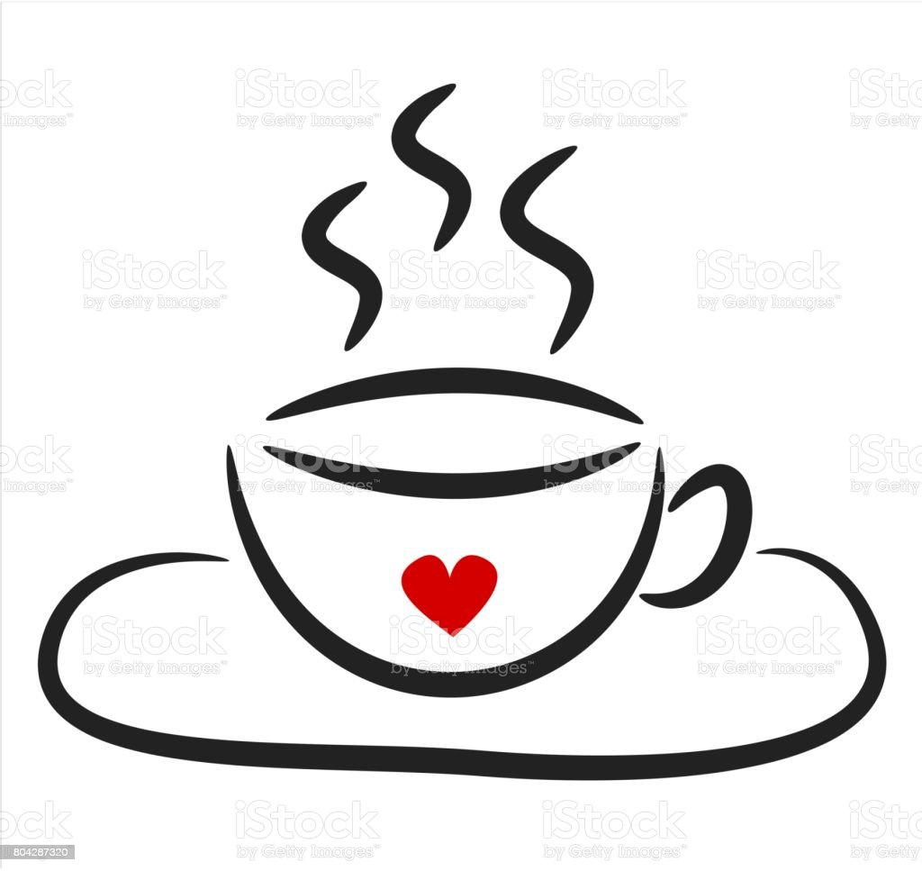 Cute Black White Linear Coffee Cup With Red Heart Vector ...