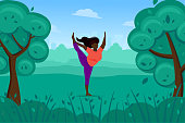 istock Cute black woman does yoga in nature, stretching and physical exercises. 1322806544