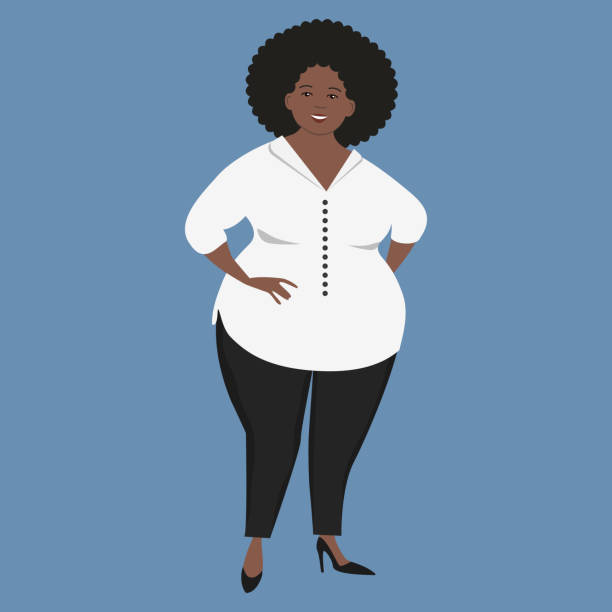 Cute black woman in office clothes vector art illustration