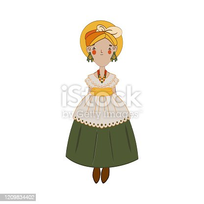 Cute blonde england woman with jewelry and long big green dress. Cartoon style. Vector illustration on white background