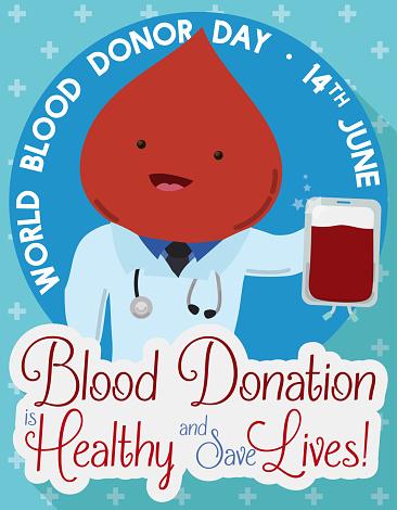Schattig Bloed Vallen Als Een Arts Bevordering Van Bloed Donor Dag Stockvectorkunst en meer beelden van Apparatuur