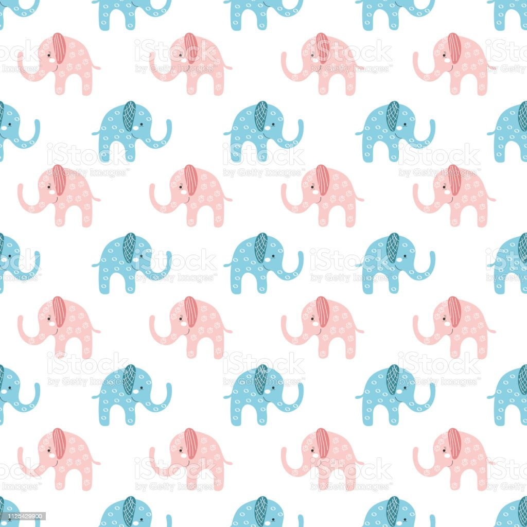 Cute Blue And Pink Elephants Seamless Pattern On White Background