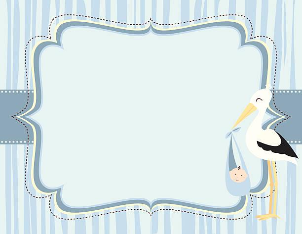 かわいい赤ちゃん男の子青いコウノトリカード - 出産点のイラスト素材/クリップアート素材/マンガ素材/アイコン素材