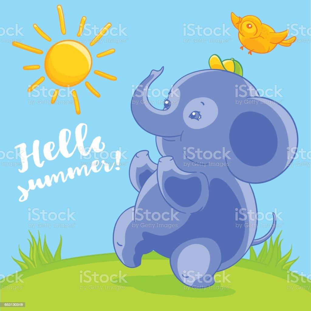 bonito azul bebê elefante e o passarinho no verão feliz estilo de