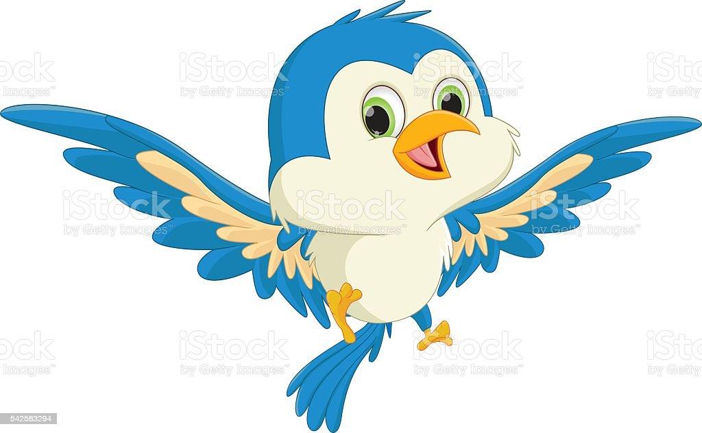 cute blue bird cartoon flying vector art illustration