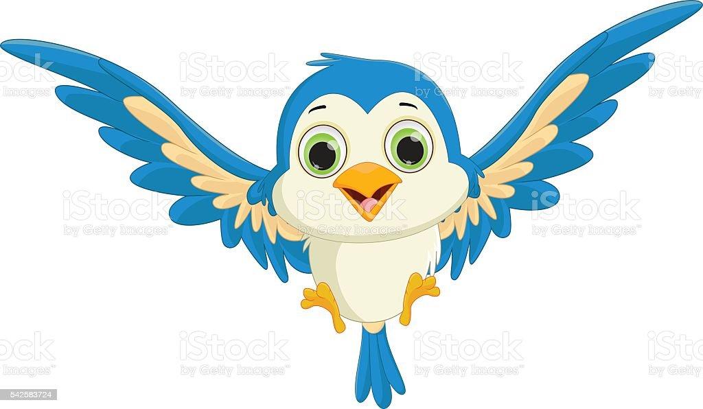 Cute Blue Bird Cartoon Flying Stock Illustration ...