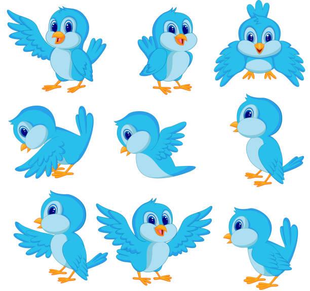 Cute blue bird cartoon vector art illustration