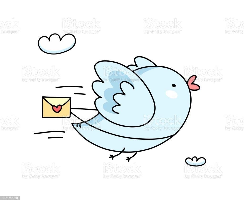 Ilustración De Lindo Pájaro Azul Volando Con Mensaje De Amor Tarjeta