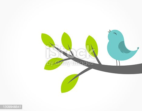 istock Cute blue bird singing on the tree branch. 1209946541