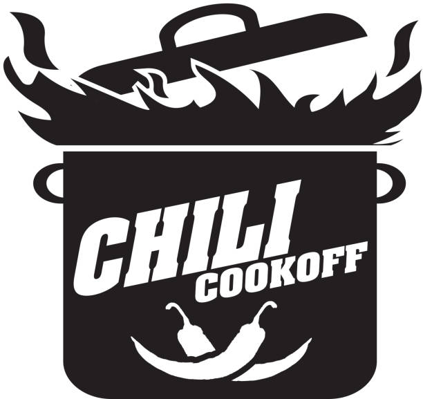 Cute blue Chili pot cookoff event   icon design Vector illustration of a Chili Cookoff logo or icon design template. Black and white. Includes black and  white color themes with large crock pot on flames. White background Perfect for white background design for picnic invitation design template, summer barbecue event, picnic celebration, backyard bbq, private or corporate party, birthday party, fun family event gathering, potluck supper. cooking competition stock illustrations