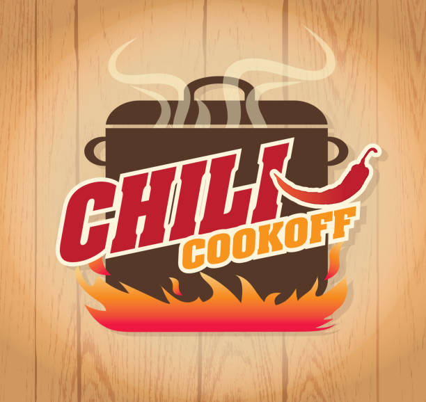 Cute blue Chili pot cookoff event   icon design Vector illustration of a Chili Cookoff logo or icon design template. Bright and colorful. Includes red, brown and orange color themes with large crock pot on flames. Wooden background Perfect for white background design for picnic invitation design template, summer barbecue event, picnic celebration, backyard bbq, private or corporate party, birthday party, fun family event gathering, potluck supper. cooking competition stock illustrations