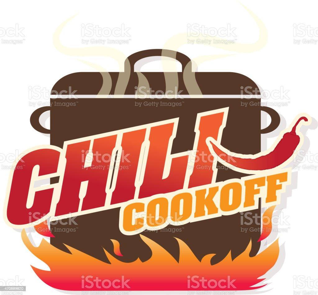 cute blue chili pot cookoff event icon design stock vector