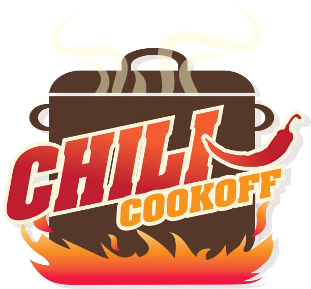 Cute blue Chili pot cookoff event   icon design Vector illustration of a Chili Cookoff logo or icon design template. Bright and colorful. Includes red, brown and orange color themes with large crock pot on flames. White background Perfect for white background design for picnic invitation design template, summer barbecue event, picnic celebration, backyard bbq, private or corporate party, birthday party, fun family event gathering, potluck supper. cooking competition stock illustrations