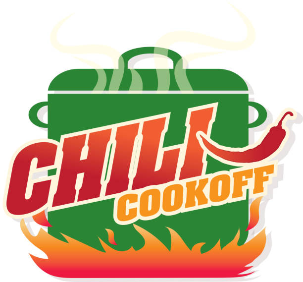 Cute blue Chili pot cookoff event   icon design Vector illustration of a green Chili Cookoff logo or icon design template. Bright and colorful. Includes red, blue and orange color themes with large crock pot on flames. White background Perfect for white background design for picnic invitation design template, summer barbecue event, picnic celebration, backyard bbq, private or corporate party, birthday party, fun family event gathering, potluck supper. cooking competition stock illustrations