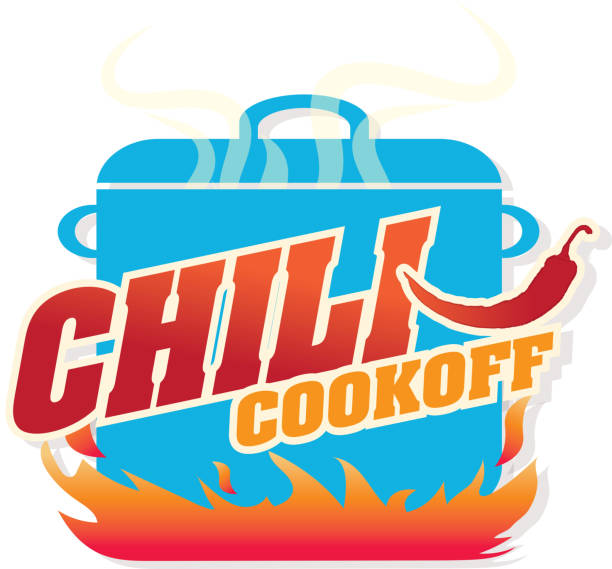 Cute blue Chili pot cookoff event   icon design Vector illustration of a Chili Cookoff logo or icon design template. Bright and colorful. Includes red, blue and orange color themes with large crock pot on flames. White background, Perfect for white background design for picnic invitation design template, summer barbecue event, picnic celebration, backyard bbq, private or corporate party, birthday party, fun family event gathering, potluck supper. cooking competition stock illustrations